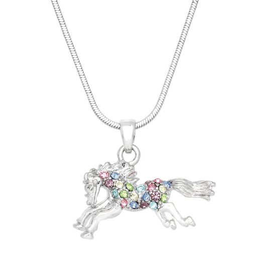 Krazy Bear Galloping Horse Charm Necklace