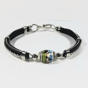 Krazy-Bear-Indigenous-made-bracelet-leather-hand-painted